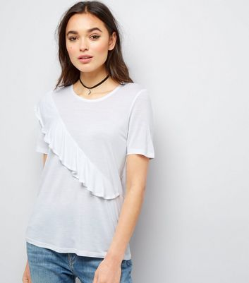 Noisy May White Frill Trim Short Sleeve Top New Look