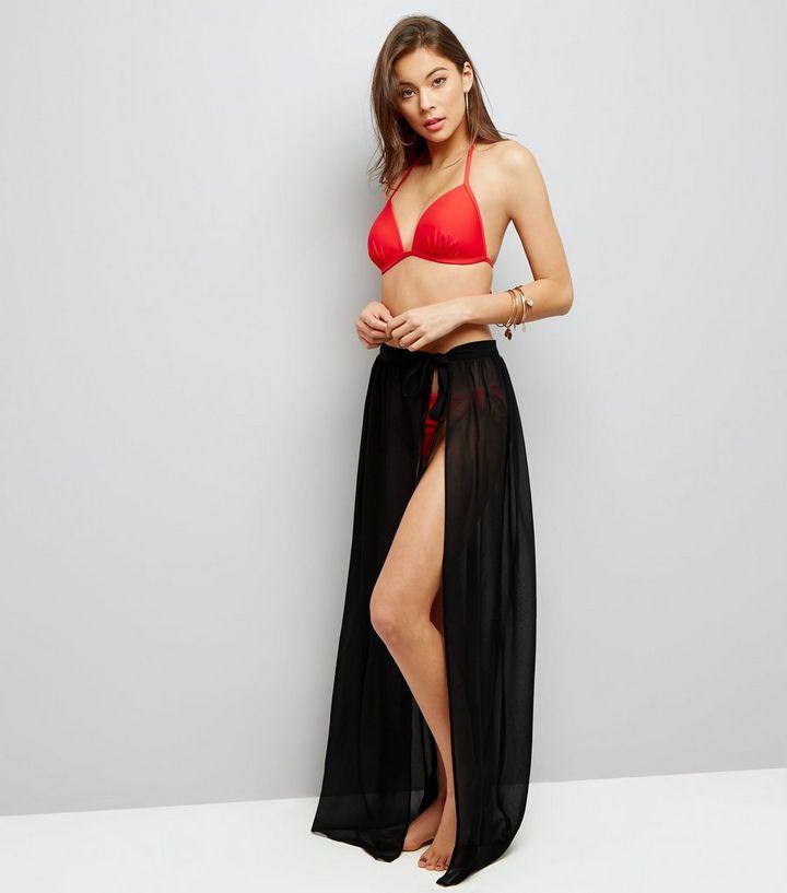 9db5835bff Black Sheer Sarong Maxi Skirt | New Look