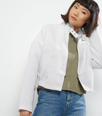 Noisy May White Biker Jacket New Look