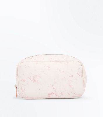 Pink Marble Print Make Up Bag New Look