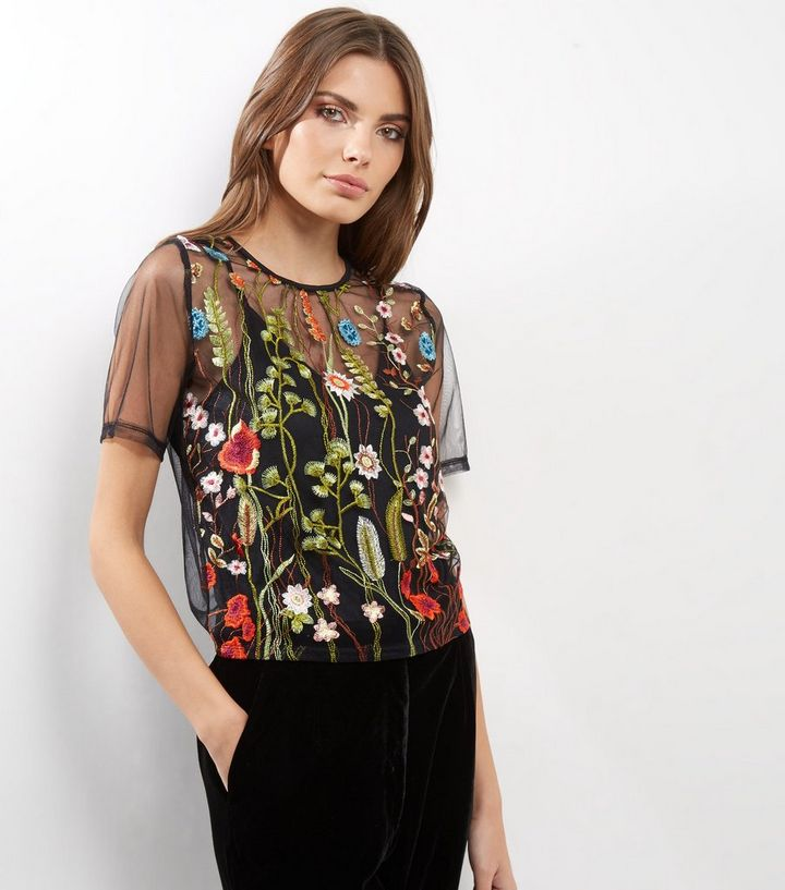 f3ab642844 Cameo Rose Black Sheer Floral Embroidered Top