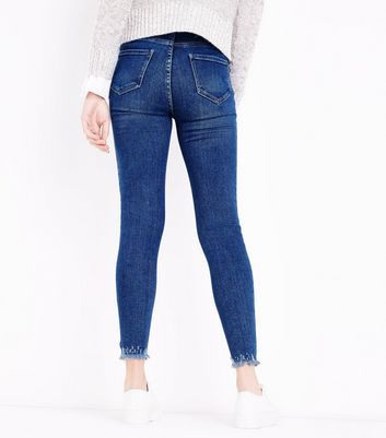 Blue Ripped Skinny Hallie Jeans New Look