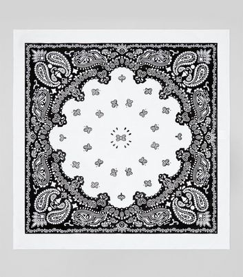 White Paisley Print Bandana New Look