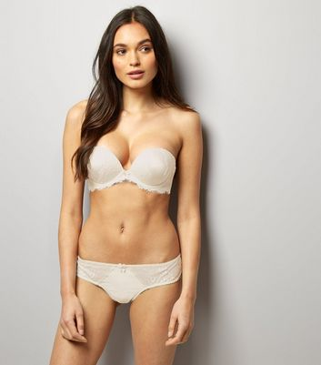 Cream Bridal Satin And Lace Multiway Boost Bra New Look