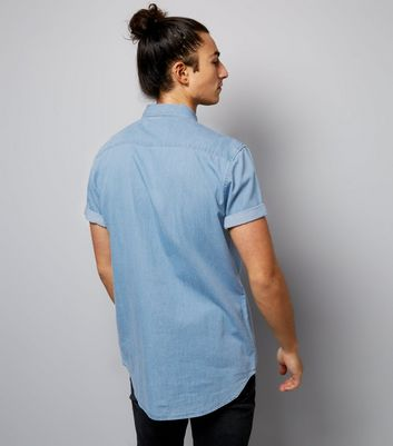 Blue Short Sleeve Denim Shirt New Look