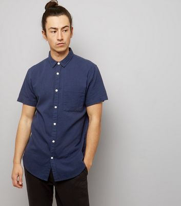 Navy Textured Short Sleeve Shirt New Look
