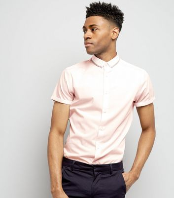 Light Pink Contrast Trim Collar Hopsack Shirt New Look