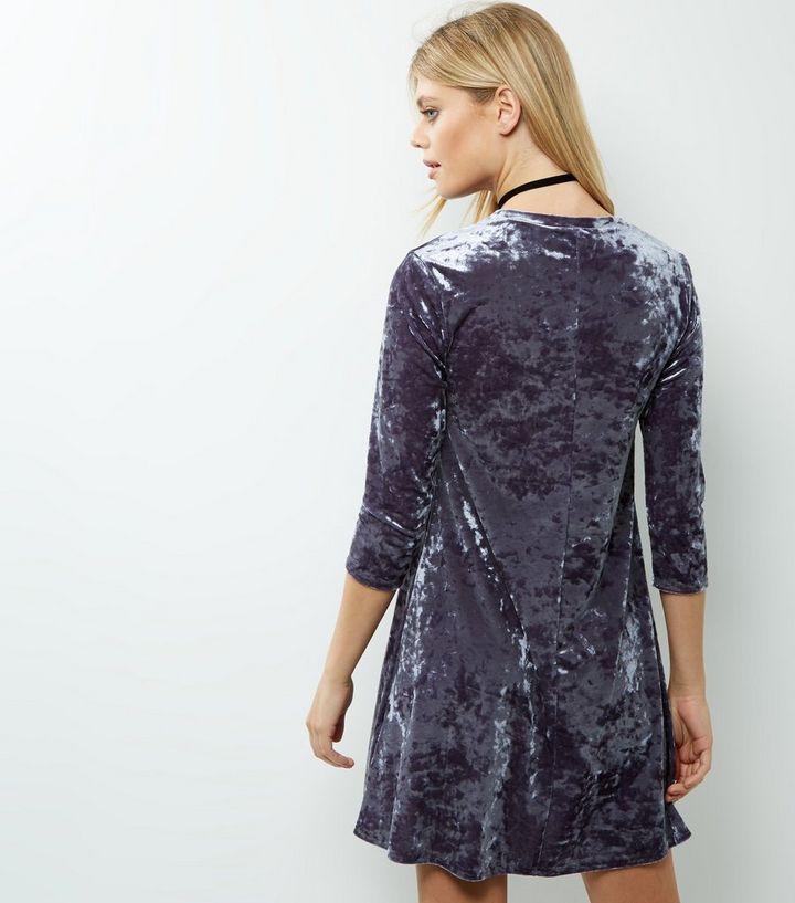 52707f6f290b Light Purple Velvet 3 4 Sleeve Swing Dress