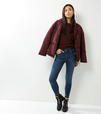 Burgundy Dip Hem Jumper New Look