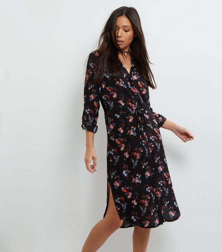 e05a45b4bd85 Black Floral Print Midi Shirt Dress