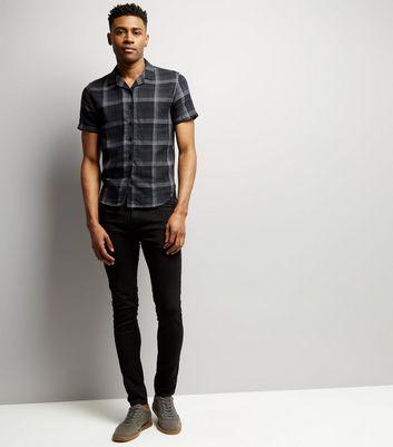 Black Check Short Sleeve Shirt New Look