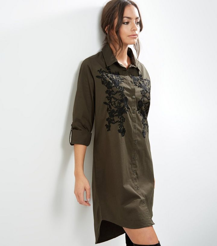 d08a3269 Khaki Floral Embroidered Long Sleeve Longline Shirt | New Look