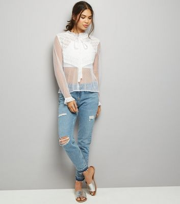 Blue Vanilla Cream Sheer Lace Panel High Neck Top New Look