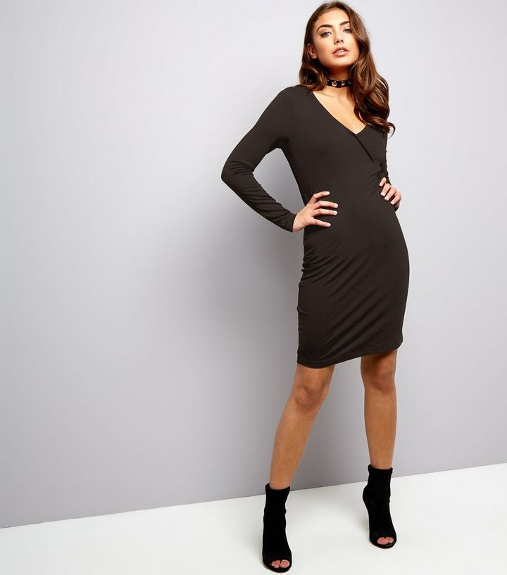 bf7ef3c1903e Black Jersey Wrap Front Long Sleeve Bodycon Dress | New Look