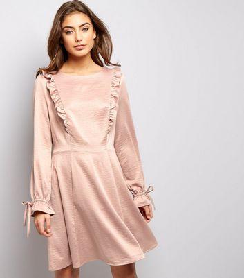 Mid Pink Sateen Frill Trim Skater Dress New Look