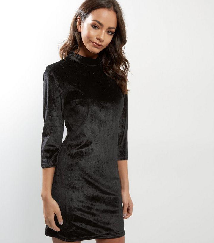 9142aae488ad Blue Vanilla Black Velvet Glitter Dress | New Look