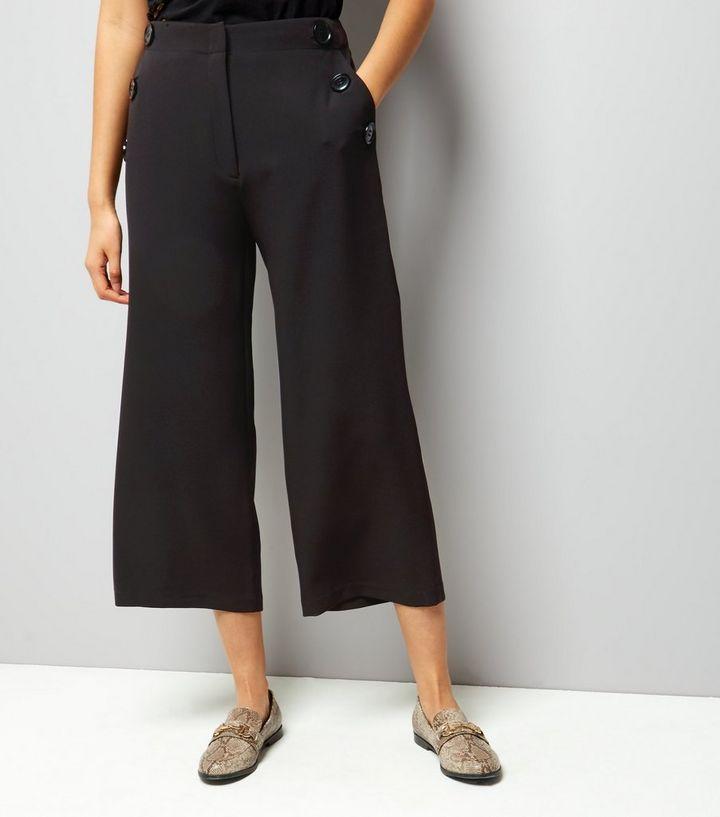 33967d08e14c Black Button Trim Wide Leg Cropped Trousers   New Look