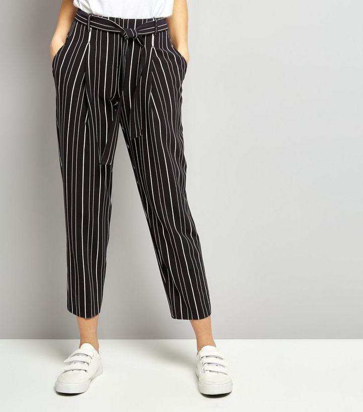 54fa5989f3 Black Stripe Tie Waist Trousers | New Look