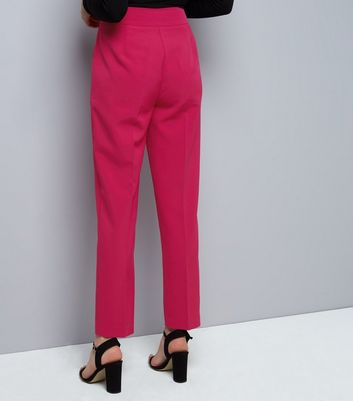 Bright Pink Tie Waist Trousers New Look