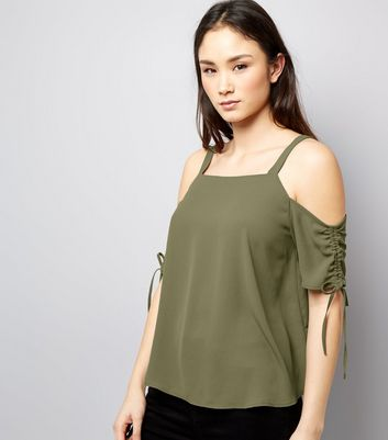 Khaki Gathered Sleeve Cold Shoulder Top New Look