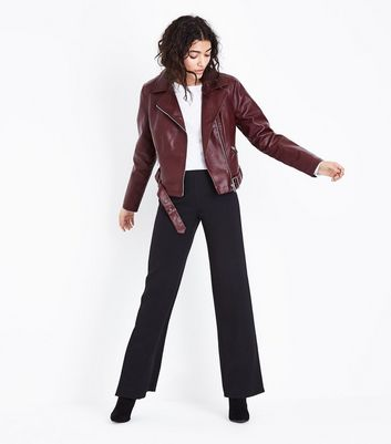 Burgundy Leather-Look Cropped Belted Biker Jacket New Look