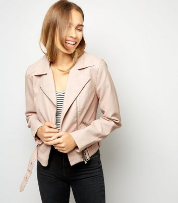 Shell Pink Leather-Look Cropped Belted Biker Jacket New Look
