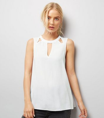 White Cut Out Front Sleeveless Top New Look