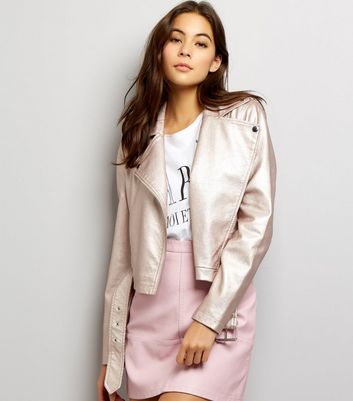 Pink Metallic Leather-Look Biker Jacket New Look