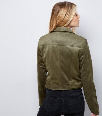 Khaki Suedette Jacket New Look