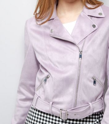 Lilac Suedette Jacket New Look