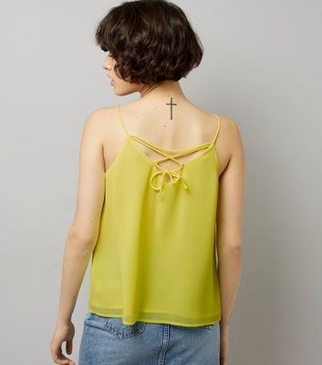 Yellow Lace Up Back Cami Top New Look