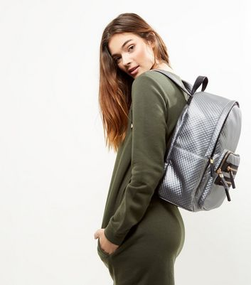 Silver Metallic Quilted Backpack New Look