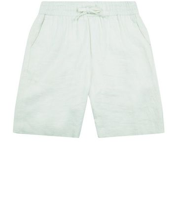 Off White Linen Tailored Shorts New Look