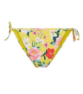 Yellow Floral Print Tie Side Bikini Bottoms New Look