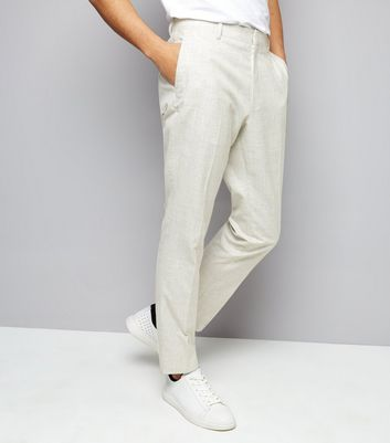 Off White Cross Hatch Skinny Tailored Trousers New Look
