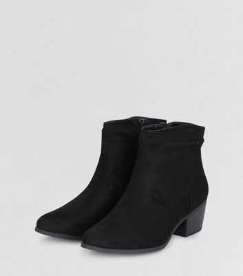 Black Suedette Slouch Western Ankle Boots New Look