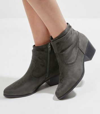 Grey Suedette Western Ankle Boots New Look