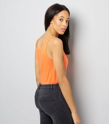 Tall Bright Orange Scoop Neck Vest New Look