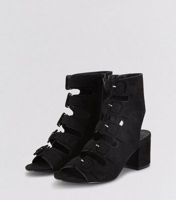 Teens Black Suedette Multi Strap Heels New Look