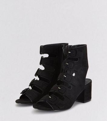 Teens Black Suedette Multi Strap Heels New Look