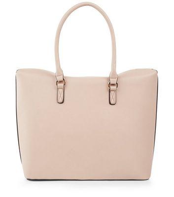 Nude Pink Zip Pocket Front Tote Bag New Look