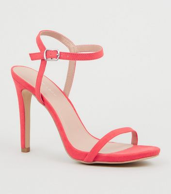 Bright Pink Suedette Ankle Strap Heeled Sandals
