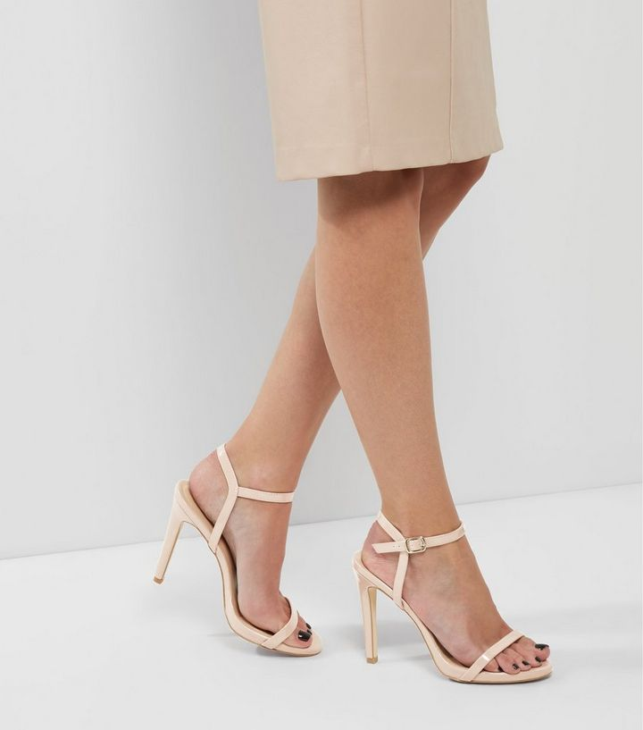 7248f73b868 Nude Patent Ankle Strap Heeled Sandals