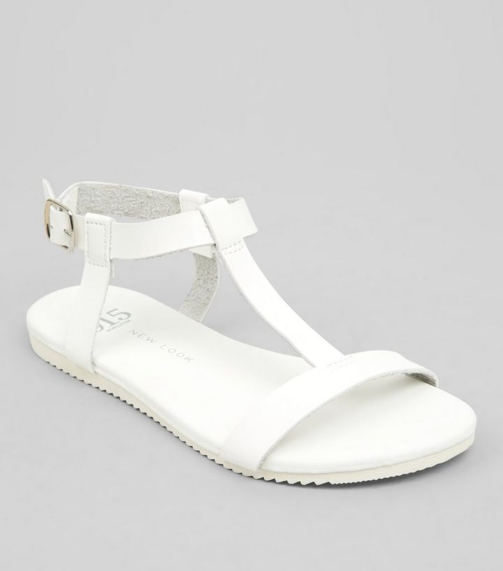 75590b5a75 Teens White T Bar Sandals | New Look