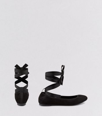 Wide Fit Black Suedette Tie Up Pumps New Look