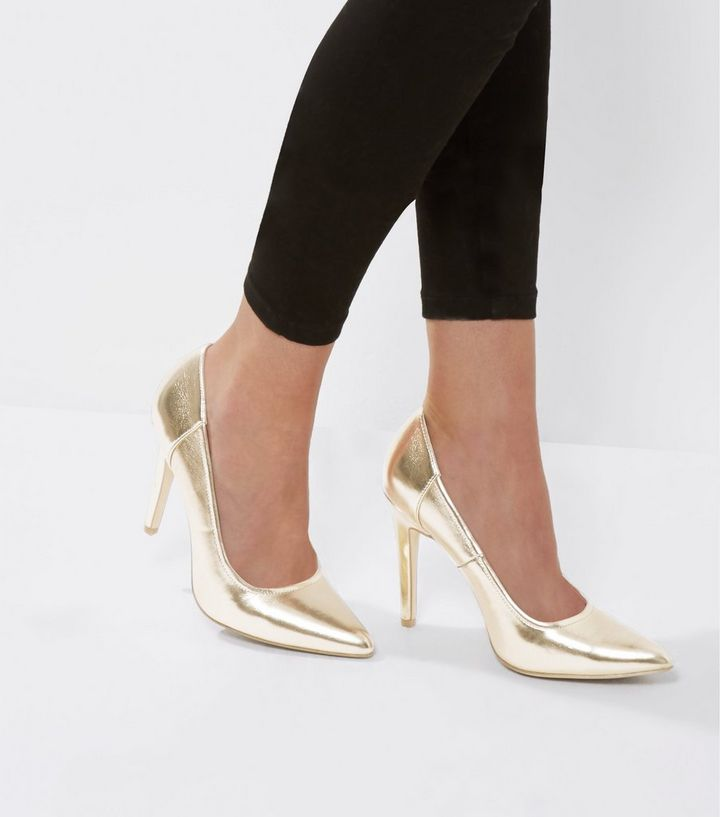 30494e27cd9 Gold Metallic Pointed Court Shoes Add to Saved Items Remove from Saved Items