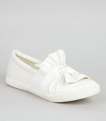 White Bow Front Slip On Trainers