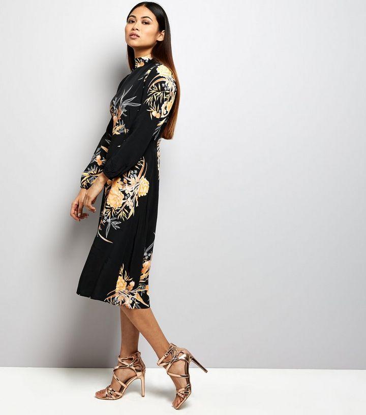 f92d404a9d ... Petite Black Floral Print Funnel Neck Midi Dress. ×. ×. ×. Shop the look