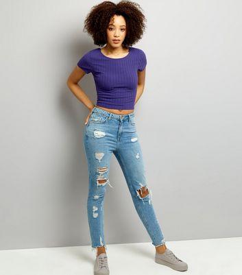 Purple Ribbed Short Sleeve Scoop Neck Crop Top New Look