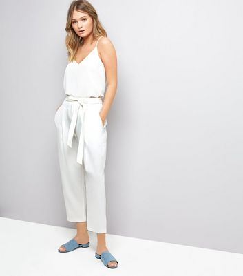 White Tie Waist Trousers New Look